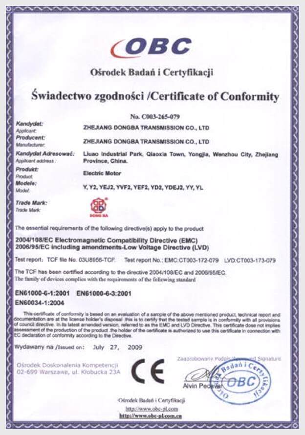 CE Electrical Certification