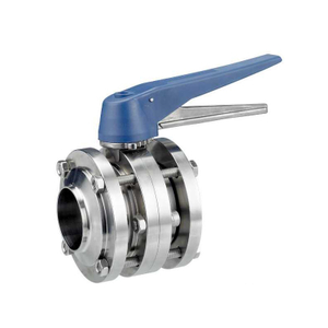 Sanitary Three-piece Manual Butterfly Valves With Gripper Handle