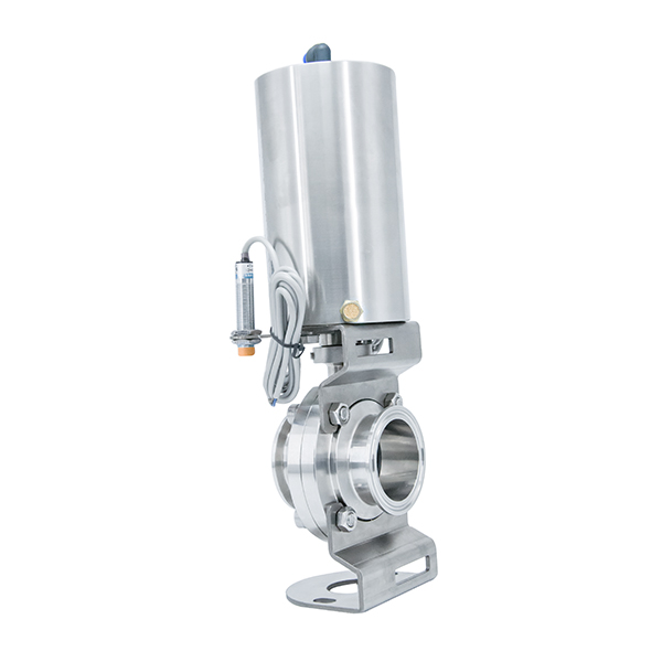 Stainless Steel Sanitary Pneumatic Air Operated Clamp Butterfly Valve with Limit Switch