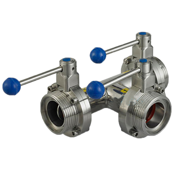 Stainless Steel Sanitary Hygienic Three-way Male Butterfly Valves