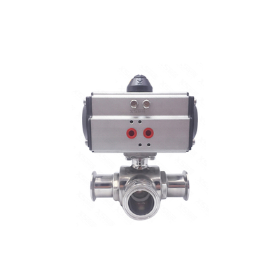 Stainless Steel Hygienic Sanitary T Port Ball Valves with Actuator Pneumatic