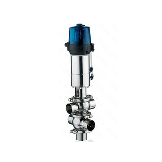 Stainless Steel Hygienic TT Double Seat Divert Valve With Control Head