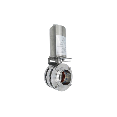 Sanitary Stainless Steel Pneumatic Three Pieces Butterfly Valve